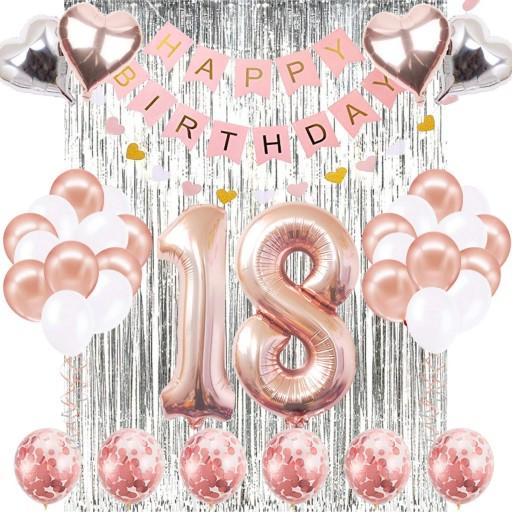 Balony Zestaw Na 18 Urodziny Osiemnastke Rose Gold 8082141421 Allegro Pl