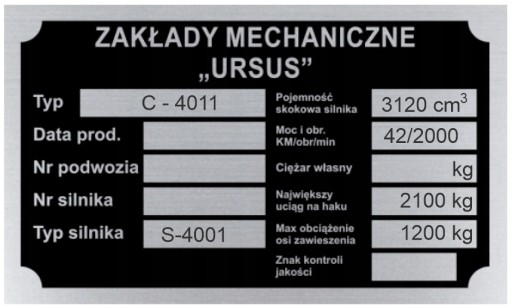 ТАБЛИЦА ИМЯ ТАБЛИЦЫ URSUS C 4011 C4011 - wybita