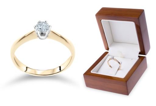 Złoty Pierścionek Zaręczynowy 585 An98 Rozmiar15 6991077265
