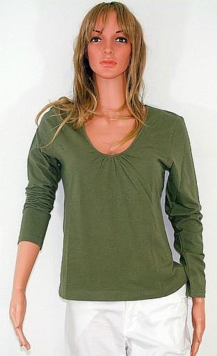 Bluzka stretch Bawełna oliwkowa zieleń R 44-46