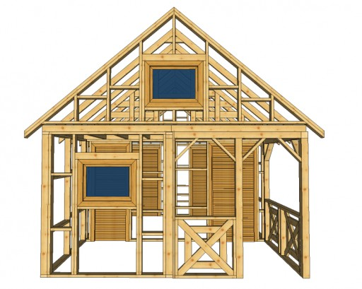 Domek Kanadyjski Z Drewna Szkielet Altana