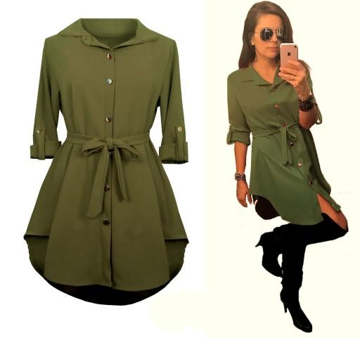 Sukienka Szmizjerka Asymetryczna Koszulowa Khaki 7691051833 Allegro Pl