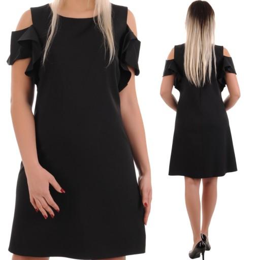N95 Trapezowa elegancka sukienka czarna R52