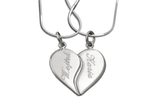 dd59f63ec81a2f Duże srebrne serce łamane, 2 łańcuszki, grawer 7167207498 - Allegro.pl