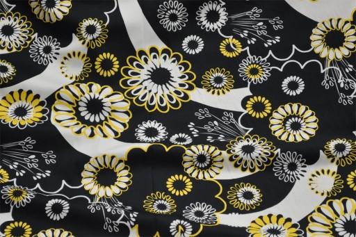 BAWEŁNA, elastan, biało czarne kwiaty. PIEGATEX