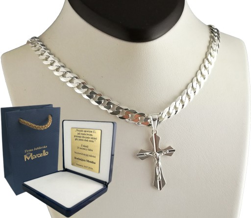łańcuszek Srebrny Męski 7mm Z Krzyżykiem Grawer 6959987076 Allegro Pl