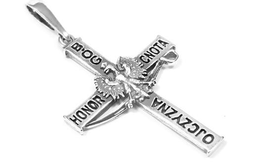Srebrny Krzyzyk Bog Honor Ojczyzna Srebro 925 6085627610 Allegro Pl