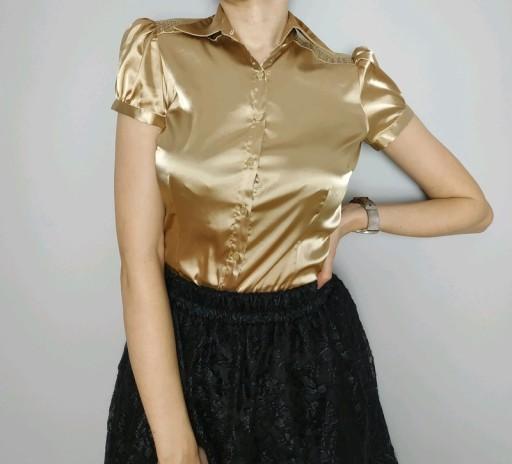 Koszula złota krótki rękaw S 36 vintage