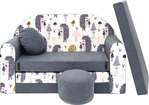 KANAPA SOFA ŁÓŻKO Materac dla dzieci pufa+poduszka