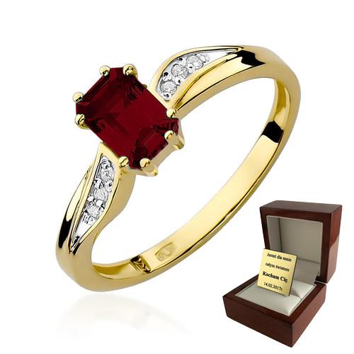 Złoty Pierścionek Zaręczynowy Granat Brylanty 7205691104 Allegropl