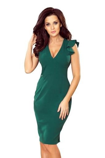 52145529 MEGAN Sukienka z dekoltem i falbankami ZIELONA (L)