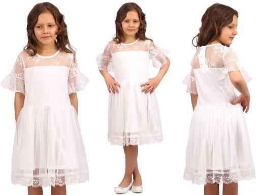 5a925f98dcc ELEGANCKA Sukienka KORONKA Tiul KOMUNIA 116 E1F150
