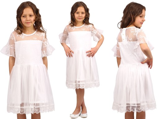 c47f199689 ELEGANCKA Sukienka KORONKA Tiul KOMUNIA 134 E1F150 7989900408 ...