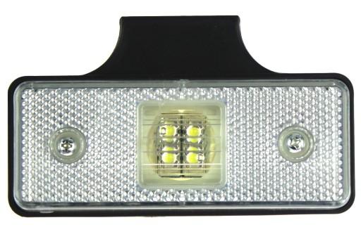 PAKRASCIO 4 LED ZIBINTAS (LEMPOS-FAROS) GABARITINIS BALTAS RANKENELE 12/24V