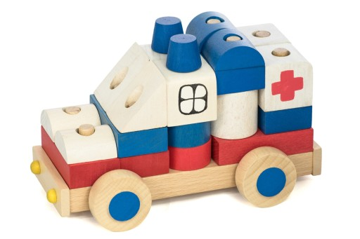 Karetka Ambulans z klocków DREWNIANE KLOCKI