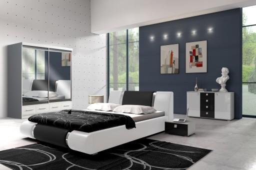 Sypialnia Szafa 200 Cm Z Lustrem łóżko Z Materacem