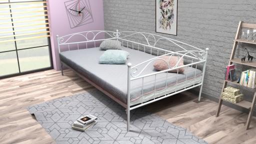 łóżko Metalowe Sofa Sabina 120x200 Kute Białe