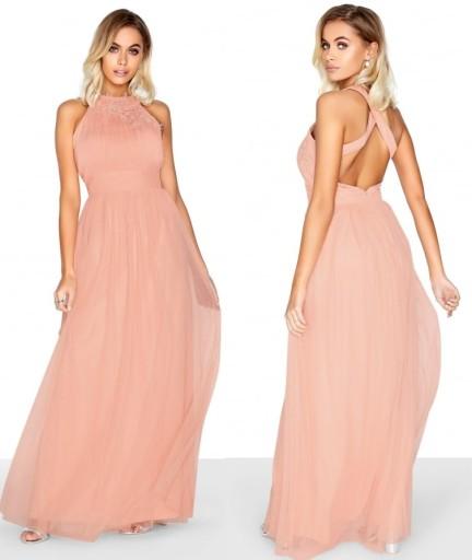 LITTLE MISTRESS sukienka maxi pudrowy róż haft L