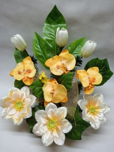 Kwiaty na grób STROIK kompozycja sztuczne RÓŻNE