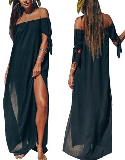 Dluga Tunika Plazowa Zwiewna Sukienka Maxi Kolory 8458374262 Allegro Pl