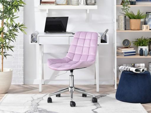 Krzesło obrotowe pikowane w tkaninie welurowej ELIOR