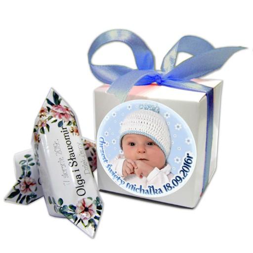 Krówki z foto pudełko podziękowania Chrzest Roczek