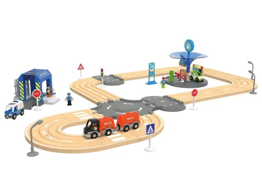 Playtive Junior Kolejka Drewniana Autostrada 40 El 8652894096 Allegro Pl
