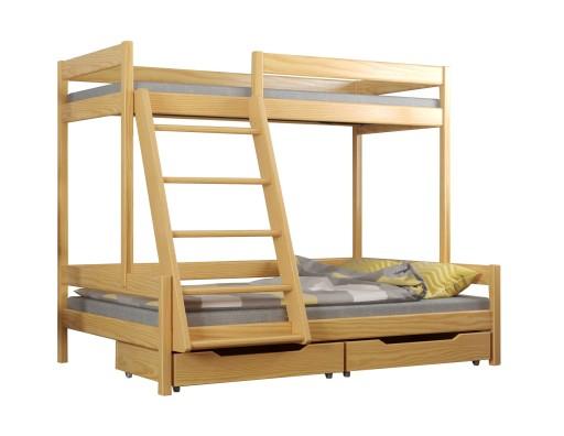 T1 łóżko Piętrowe Trzyosobowe Drewniane 120x200 7089792838 Allegropl