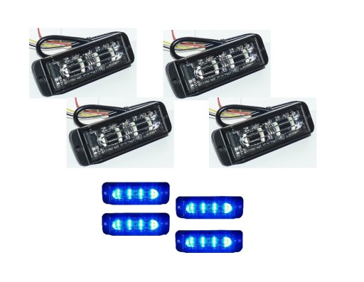 LAMPY 4szt LED STROBO karetka straż policja 12/24V