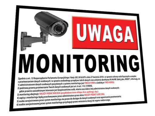 Tablica Obiekt Monitorowany 60x45 Monitoring Rodo 7369049410
