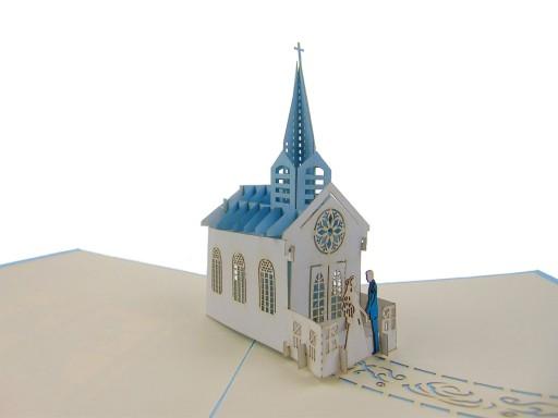 Kartka, młoda para przed kościołem, wesele, ślub