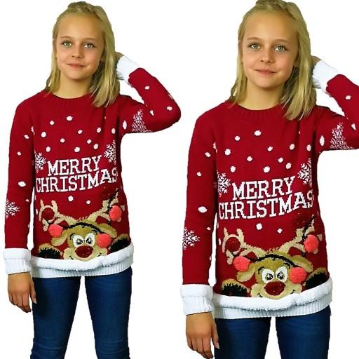 Swiateczny Sweterek Dla Dziecka Renifer 5 6 Lat 7691914166 Allegro Pl