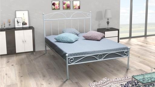 łóżko Metalowe Sabina 120x200 Kute Białe Czarne