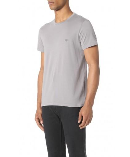 EMPORIO ARMANI Szary Stalowy T-shirt O-neck _ L 9118340963 Odzież Męska T-shirty PA ANVNPA-7