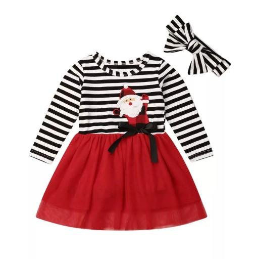 Sukienka świąteczna MIKOŁAJKA z opaska 92 PREZENT