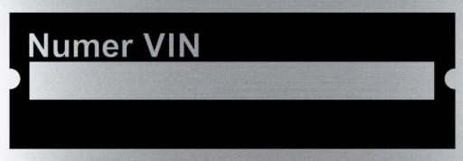 LENTELE NUMERIU VIN 85x30mm ALIUMINIS