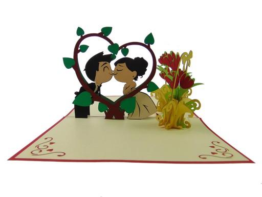 Kartka 3D, zakochana młoda para, ślub, wesele