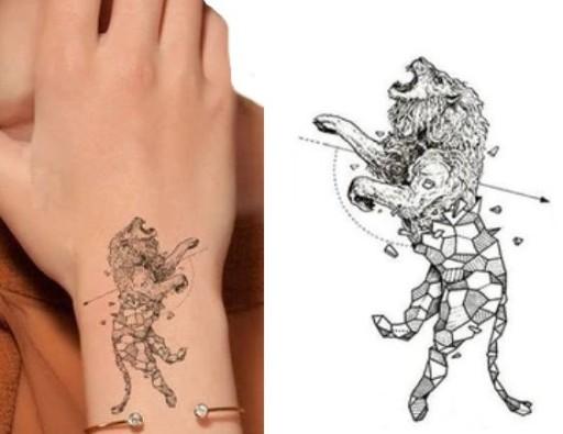 Tatuaż Wodny Lew Trójkątny Geometryczny Z Lwem 132