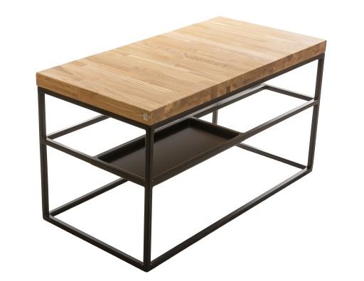 Stolik Kawowy Drewno Metal Loft Design Ręczna Prac
