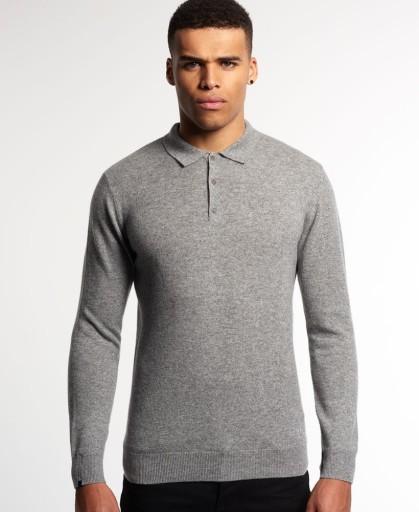 100% Kaszmir Szary Melanż Delikatny Grey Polo