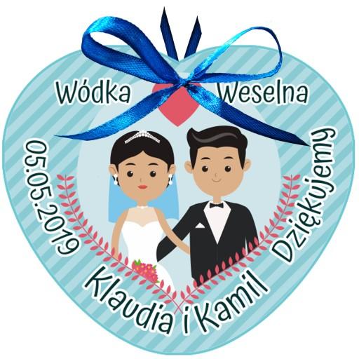 ZAWIESZKI ETYKIETY na alkohol wódkę weselną 12szt