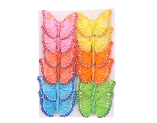 Motyle Motylki ślubne Dekoracyjne 12szt 8cm Kolory