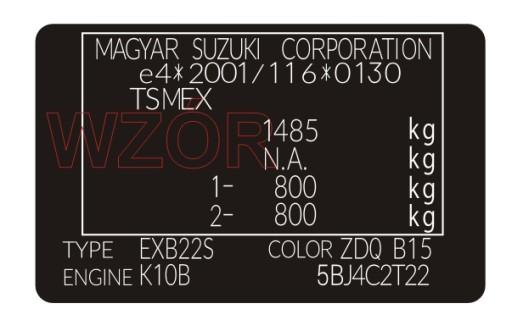 Табличка / наклейка стартера Suzuki