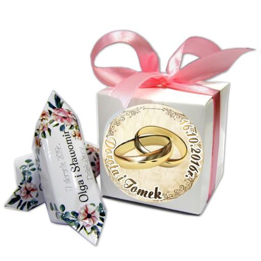 Krówki z foto w pudełku podziękowania ŚLUB chrzest