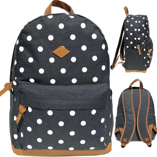 Plecak Mlodziezowy Vintage Szkolny Szary W Kropki 7972313532 Allegro Pl