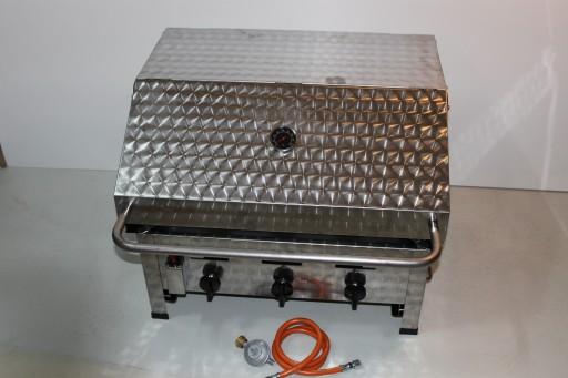 patelnia gazowa K+F , 3 palniki 10,8 KW , z osłoną