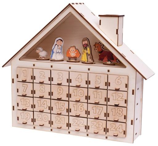 Kalendarz Adwentowy Drewniany Domek Na Swieta 7671639032 Allegro Pl