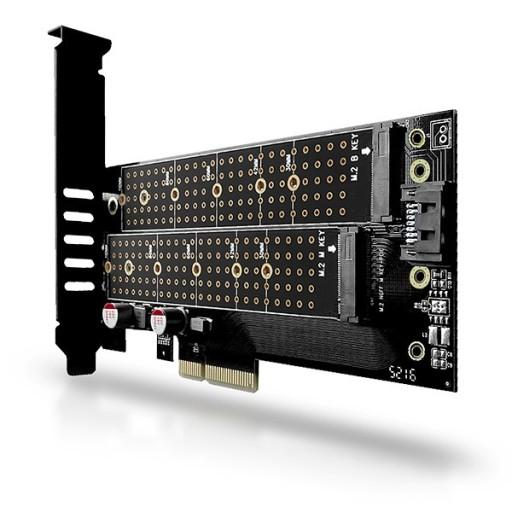 Adapter M.2 NVMe PCI Express 2x Dyski SSD M.2 SATA