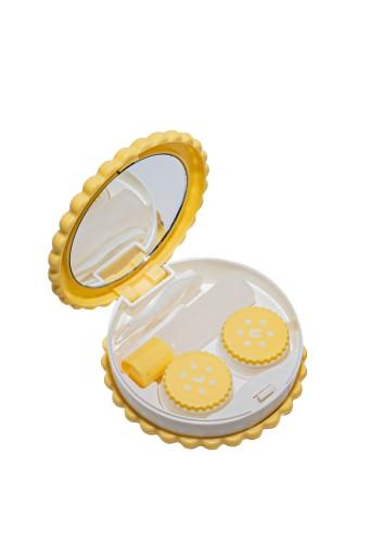Pojemnik na soczewki zestaw lusterko żółty ciastko