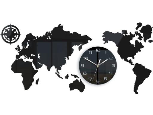 Zegar ścienny Mapa Świata 80 X 40 cm Czarna Cicha